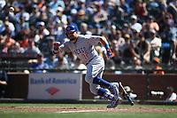 SAN FRANCISCO, CA - JULY 11:  Kyle Schwarber #12 of the Chicago Cubs bunts against the San Francisco Giants during the game at AT&T Park on Wednesday, July 11, 2018 in San Francisco, California. (Photo by Brad Mangin)
