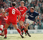 Paul Gascoigne scores the first of his hat-trick against Aberdeen to clinch the title for Rangers