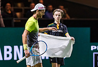 Rotterdam, Netherlands, 12 Februari, 2018, Ahoy, Tennis, ABNAMROWTT, Joao Sousa (POR) gets a zowel from a ballboyball<br /> Photo:tennisimages.com
