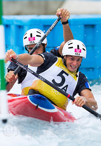 02 AUG 2012 - CHESHUNT, GBR - Matthieu Peche (FRA) (left) and Gauthier Klauss (FRA) (right) of France make their semi final run  time during the men's Canoe Double (C2) during the London 2012 Olympic Games event at Lee Valley White Water Centre, Cheshunt, Great Britain (PHOTO (C) 2012 NIGEL FARROW)