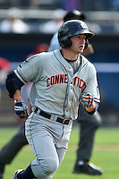 Connecticut Tigers first baseman Will Maddox (40) runs to first on a single during the second game of a doubleheader against the Batavia Muckdogs on July 20, 2014 at Dwyer Stadium in Batavia, New York.  Connecticut defeated Batavia 2-0.  (Mike Janes/Four Seam Images)