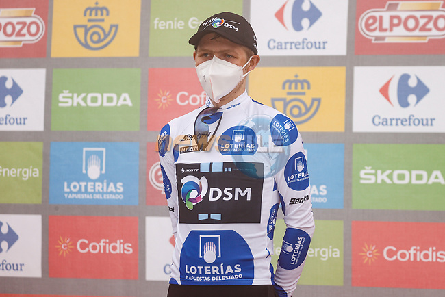 Michael Storer (AUS) Team DSM takes over the mountains Polka Dot Jersey at the end of Stage 18 of La Vuelta d'Espana 2021, running 162.6km from Salas to Alto del Gamoniteiru, Spain. 2nd September 2021.    <br /> Picture: Luis Angel Gomez/Photogomezsport | Cyclefile<br /> <br /> All photos usage must carry mandatory copyright credit (© Cyclefile | Luis Angel Gomez/Photogomezsport)