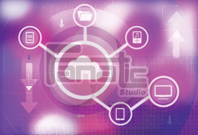 Illustration of cloud computing representing file transfer