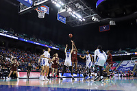 GREENSBORO, NC - MARCH 06: Taylor Soule #13 of Boston College shoots over Leaonna Odom #5 of Duke University during a game between Boston College and Duke at Greensboro Coliseum on March 06, 2020 in Greensboro, North Carolina.