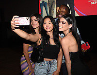 """LOS ANGELES - SEPT 2: (L-R) Charli D'Amelio, Sunisa Lee, Markell Washington, and Dixie D'Amelio attend a screening of Hulu's """"The D'Amelio Show"""" at NeueHouse Rooftop Hollywood on September 2, 2021 in Los Angeles, California. (Photo by Frank Micelotta/Hulu/PictureGroup)"""