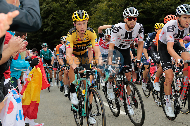 Tony Martin (Ger) Team Jumbo-Visma, Nikias Arndt (GER) and Tiesj Benoot (BEL) Team Sunweb climb Col de Marie Blanque during Stage 9 of Tour de France 2020, running 153km from Pau to Laruns, France. 6th September 2020. <br /> Picture: Colin Flockton | Cyclefile<br /> All photos usage must carry mandatory copyright credit (© Cyclefile | Colin Flockton)