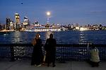 Sunset Moonrise in New York City from Hoboken