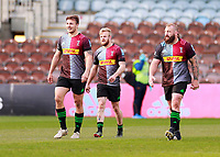 17th April 2021; Twickenham Stoop, London, England; English Premiership Rugby, Harlequins versus Worcester Warriors; On the walk back from Tyrone Greens try with Andre Esterhuizen of Harlequins and Joe Marler of Harlequins