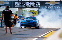 Jul 18, 2020; Clermont, Indiana, USA; NHRA factory stock driver Jesse Alexandra during qualifying for the Summernationals at Lucas Oil Raceway. Mandatory Credit: Mark J. Rebilas-USA TODAY Sports