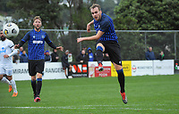 Miramar's Taylor Schrijvers shoots for goal during the Central League football match between Miramar Rangers and Wellington Olympic AFC at David Farrington Park in Wellington, New Zealand on Saturday, 29 May 2021. Photo: Dave Lintott / lintottphoto.co.nz