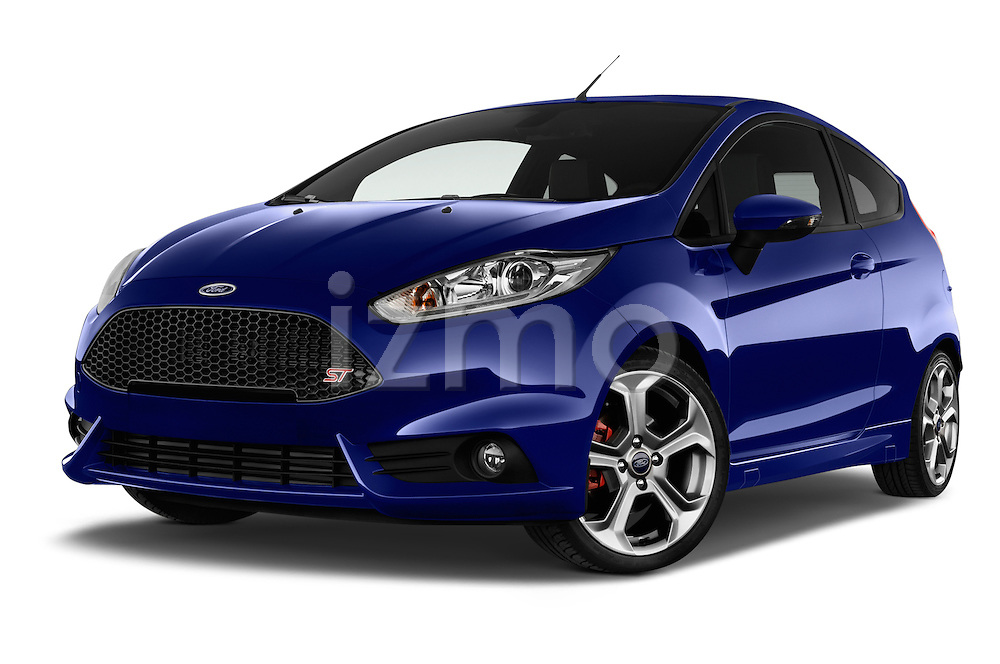 Stock pictures of low aggressive front three quarter view of a 2014 Ford FIESTA ST MT 2WD 3 Door Hatchback 2WD Low Aggressive