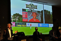 Greenville Drive Owner/Team President Craig Brown announces a new video board for 2016 at the Greenville Drive's annual Hot Stove Event on Tuesday, January 26, 2016, in the ONE Building in Downtown Greenville, South Carolina.  (Tom Priddy/Four Seam Images)