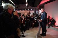 DECLARATION DE PRESSE DE FRANCOIS BAYROU A SON QG, LE 22 FEVRIER 2017 A PARIS. FRANCOIS BAYROU PROPOSE UNE ALLIANCE SOUS CONDITION A MACRON. # FRANCOIS BAYROU RENONCE A LA PRESIDENTIELLE 2017