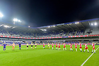 team Linfield ladies entering the pitch before a female soccer game between RSC Anderlecht Dames and Northern Irish Linfield Ladies  in the first qualifying round for the Uefa Womens Champions League of the 2020 - 2021 season , Wednesday 4 th of November 2020  in ANDERLECHT , Belgium . PHOTO SPORTPIX.BE | SPP | STIJN AUDOOREN