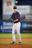 Pitcher Evan Odum (37) of Lumberton High School in Lumberton, North Carolina playing for the Cleveland Indians scout team during the East Coast Pro Showcase on July 28, 2015 at George M. Steinbrenner Field in Tampa, Florida.  (Mike Janes/Four Seam Images)