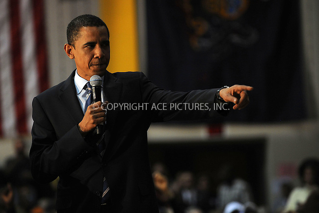 WWW.ACEPIXS.COM . . . . . ....April 9 2008, Levittown PA....Democratic presidential candidate Sen. Barack Obama addressed a meeting in Levittown, PA....Please byline: KRISTIN CALLAHAN - ACEPIXS.COM.. . . . . . ..Ace Pictures, Inc:  ..(646) 769 0430..e-mail: info@acepixs.com..web: http://www.acepixs.com