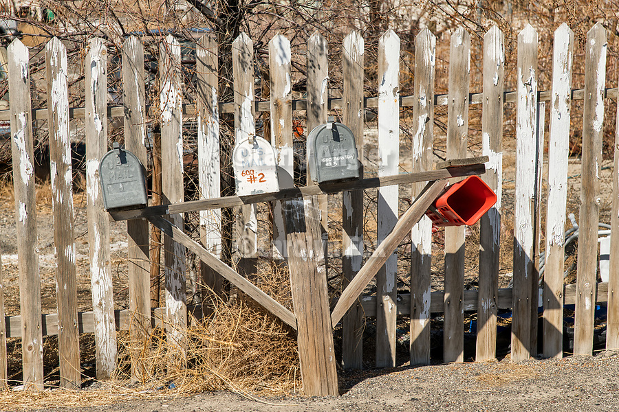 Mail boxes with newspaper tube, town of Hazen in the Lahoten Valley along the old Lincoln Highway, Nevada