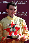 October 02, 2016, Chantilly, FRANCE - Pierre-Charles Boudot after winning the Qatar Prix Jean-Luc Lagardere (Grand Criterium) (Gr. I) at  Chantilly Race Course  [Copyright (c) Sandra Scherning/Eclipse Sportswire)