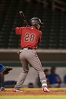AZL Diamondbacks designated hitter Dalgeli Diaz (28) at bat during an Arizona League game against the AZL Cubs 1 at Sloan Park on June 18, 2018 in Mesa, Arizona. AZL Diamondbacks defeated AZL Cubs 1 7-0. (Zachary Lucy/Four Seam Images)