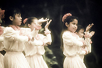 Children dancing hula at Prince Lot festival, Oahu