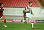 Ulster wing Andrew Trimble bursts through to score under the posts..Celtic League.Scarlets v Ulster.Parc y Scarlets.02.12.12..©Steve Pope