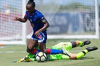 Bradenton, FL - Sunday, June 12, 2018: Melchie Dumonay, Anna Karpenko prior to a U-17 Women's Championship 3rd place match between Canada and Haiti at IMG Academy. Canada defeated Haiti 2-1.