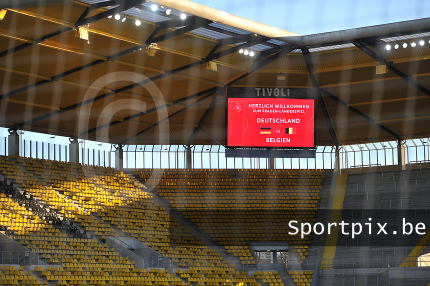 illustration picture of the stadium  pictured during a friendly female soccer game between the national teams of Germany and  Belgium , called the Red Flames  in a pre - bid tournament called Three Nations One Goal with the national teams from Belgium , The Netherlands and Germany towards a bid for the hosting of the 2027 FIFA Women's World Cup , on Sunday 21 st of February 2021  in Aachen , Germany . PHOTO SPORTPIX.BE | SPP | STIJN AUDOOREN
