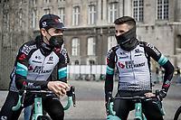 Esteban Chaves (COL/BikeExchange) & Mikel Nieve (ESP/BikeExchange) at the race start in LIège<br /> <br /> 107th Liège-Bastogne-Liège 2021 (1.UWT)<br /> 1 day race from Liège to Liège (259km)<br /> <br /> ©kramon