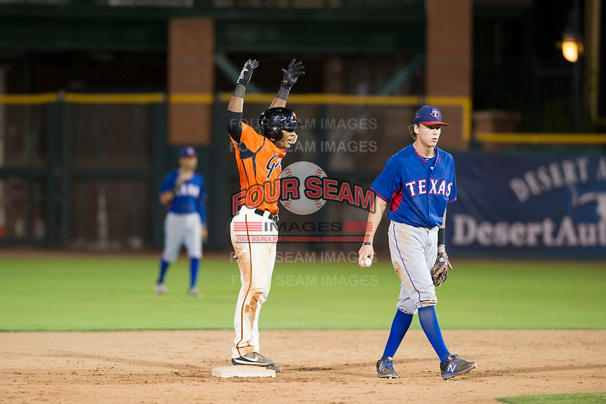 AZL Giants catcher Andres Angulo (1) celebrates after hitting a double against the AZL Rangers on September 4, 2017 at Scottsdale Stadium in Scottsdale, Arizona. AZL Giants defeated the AZL Rangers 6-5 to advance to the Arizona League Championship Series. (Zachary Lucy/Four Seam Images)