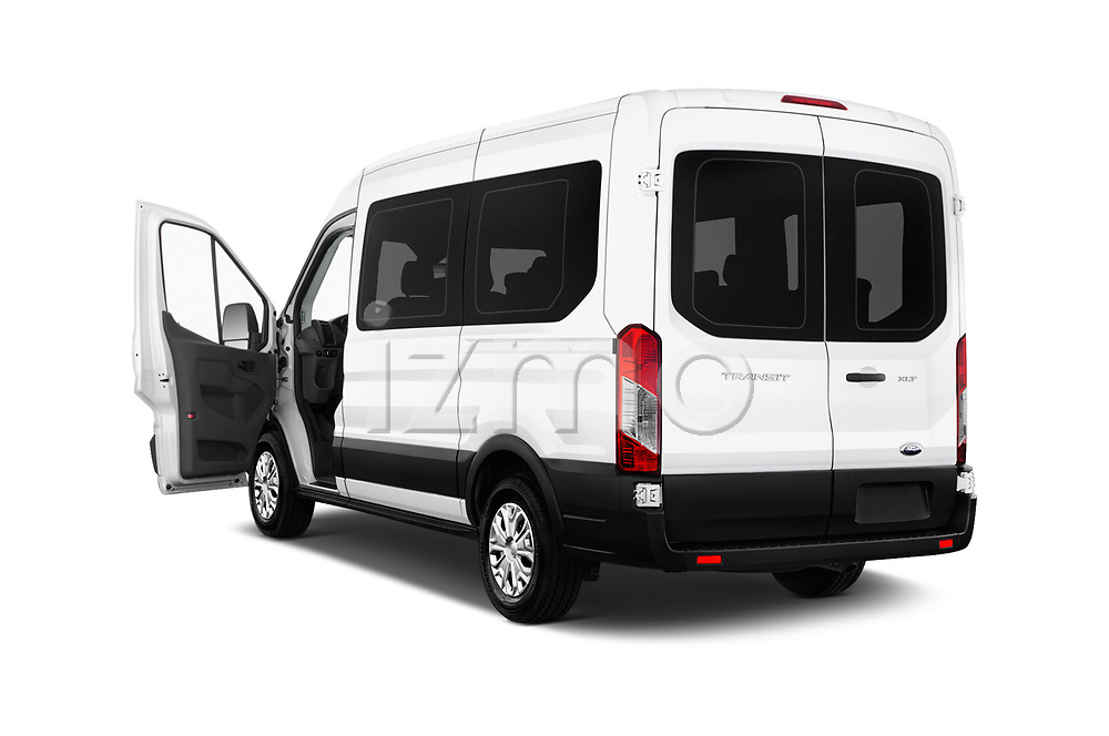 Car images close up view of a 2019 Ford Transit Wagon 150 XLT Wagon Med Roof Sliding Pass. 130 5 Door Passenger Van doors