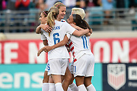 Jacksonville, FL - Thursday April 5, 2018: USWNT celebrate a Mallory Pugh goal during an International friendly match versus the women's National teams of the United States (USA) and Mexico (MEX) at EverBank Field.