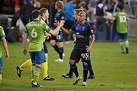 SAN JOSE, CA - OCTOBER 18: Joao Paulo #6 of the Seattle Sounders shakes hands with Judson #93 of the San Jose Earthquakes during a game between Seattle Sounders FC and San Jose Earthquakes at Earthquakes Stadium on October 18, 2020 in San Jose, California.
