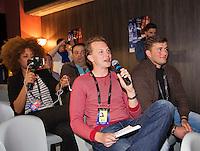 Arena Loire,  Trélazé,  France, 13 April, 2016, Semifinal FedCup, France-Netherlands, Press-conference Dutch team, Tennis.nl reporter Abe Kuijl asking questions<br /> Photo: Henk Koster/Tennisimages