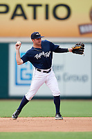 Lakeland Flying Tigers second baseman Will Maddox (3) throws to first base during a game against the St. Lucie Mets on June 11, 2017 at Joker Marchant Stadium in Lakeland, Florida.  Lakeland defeated St. Lucie 1-0.  (Mike Janes/Four Seam Images)