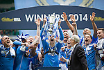 St Johnstone v Dundee United....17.05.14   William Hill Scottish Cup Final<br /> St Johnstone captain Dave Mackay lifts the William Hill Scottish Cup<br /> Picture by Graeme Hart.<br /> Copyright Perthshire Picture Agency<br /> Tel: 01738 623350  Mobile: 07990 594431
