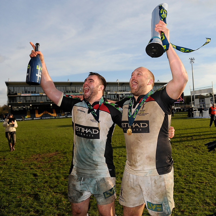 20130317 Copyright onEdition 2013©.Free for editorial use image, please credit: onEdition..(L-R) Will Collier and Mark Lambert of Harlequins enjoying the moment after winning the LV= Cup Final between Harlequins and Sale Sharks at Sixways Stadium on Sunday 17th March 2013 (Photo by Rob Munro)..For press contacts contact: Sam Feasey at brandRapport on M: +44 (0)7717 757114 E: SFeasey@brand-rapport.com..If you require a higher resolution image or you have any other onEdition photographic enquiries, please contact onEdition on 0845 900 2 900 or email info@onEdition.com.This image is copyright onEdition 2013©..This image has been supplied by onEdition and must be credited onEdition. The author is asserting his full Moral rights in relation to the publication of this image. Rights for onward transmission of any image or file is not granted or implied. Changing or deleting Copyright information is illegal as specified in the Copyright, Design and Patents Act 1988. If you are in any way unsure of your right to publish this image please contact onEdition on 0845 900 2 900 or email info@onEdition.com