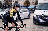 Gracie Elvin (AUS/Mitchelton-Scott) off to the start of her very last pro race ever...<br /> <br /> AG Driedaagse Brugge-De Panne 2020 (1.WWT)<br /> 1 day race from Brugge to De Panne (156km) <br /> <br /> ©kramon