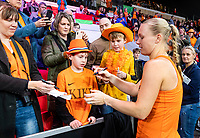 The Hague, The Netherlands, Februari 7, 2020,    Sportcampus, FedCup  Netherlands -  Balarus, Seccond match on friday:  Kiki Bertens  (NED) sining autographs<br /> Photo: Tennisimages/Henk Koster