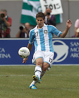 Argentina defender Federico Fernandez (17) clears the ball. In an international friendly (Clash of Titans), Argentina defeated Brazil, 4-3, at MetLife Stadium on June 9, 2012.