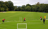Tony Roberts (R) trains the three goalkeepers during the Wales Training Session at the Vale Resort, Hensol, Wales, UK. Tuesday 29 August 2017