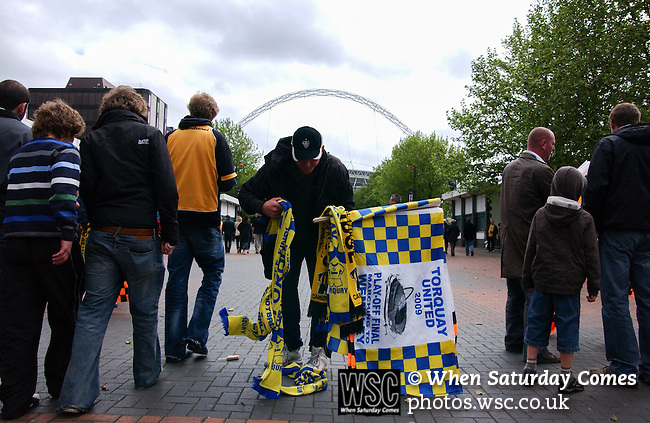 Torquay United 2 Cambridge United 0, 17/05/2009. Wembley Stadium, Conference Play Off Final. Wembley Way flags and scarfs for sale. Torquay United returned to the Football League after two years away following victory at Wembley. Photo by Simon Gill.