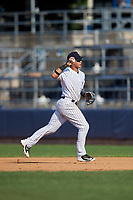 Staten Island Yankees second baseman Jesus Bastidas (2) throws to first base during a game against the Lowell Spinners on August 22, 2018 at Richmond County Bank Ballpark in Staten Island, New York.  Staten Island defeated Lowell 10-4.  (Mike Janes/Four Seam Images)