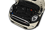 Car stock 2019 Mini Hardtop 4 Door Cooper S Signature 5 Door Hatchback engine high angle detail view