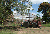 Xingu Indigenous Park, Mato Grosso State, Brazil. Aldeia Kamaiura. Oca house under construction with the village tractor.