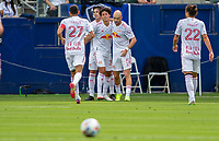 CARSON, CA - APRIL 25: Andrew Gutman #5 of the New York Red Bulls scores a goal and celebrates during a game between New York Red Bulls and Los Angeles Galaxy at Dignity Health Sports Park on April 25, 2021 in Carson, California.