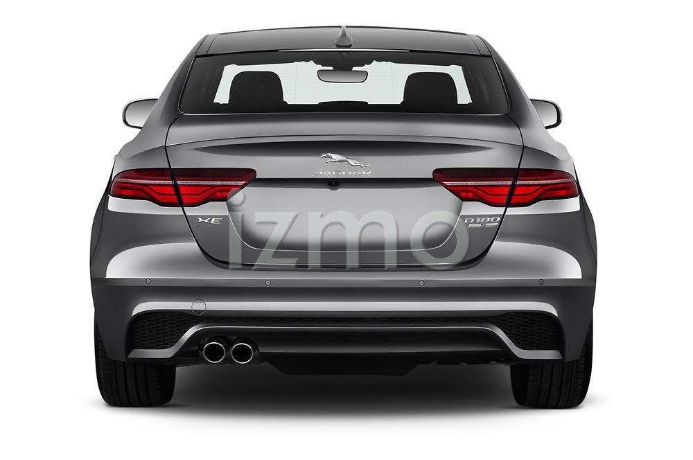 Straight rear view of a 2020 Jaguar XE S 4 Door Sedan stock images