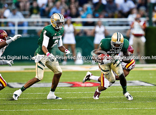 Baylor Bears wide receiver Kendall Wright (1) and Baylor Bears wide receiver Terrance Williams (2) in action during the game between the Iowa State Cyclones and the Baylor Bears at the Floyd Casey Stadium in Waco, Texas. Baylor defeats Iowa State 49 to 26.