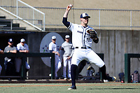 CARY, NC - FEBRUARY 23: Justin Williams #33 of Penn State University fields a bunt during a game between Wagner and Penn State at Coleman Field at USA Baseball National Training Complex on February 23, 2020 in Cary, North Carolina.