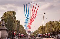 La Patrouille de France salutes Le Tour in the finishing laps around the Champs-Élysées<br /> <br /> Stage 21 from Mantes-la-Jolie to Paris (122km)<br /> <br /> 107th Tour de France 2020 (2.UWT)<br /> (the 'postponed edition' held in september)<br /> <br /> ©kramon