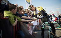 Sep Vanmarcke (BEL/LottoNL-Jumbo) making some kids happy at the start<br /> <br /> 103rd Scheldeprijs 2015